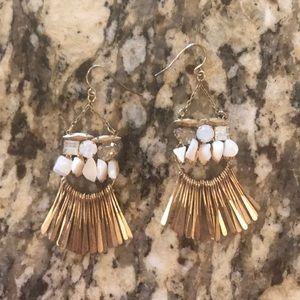 Anthropologie Gold Fringe Earrings